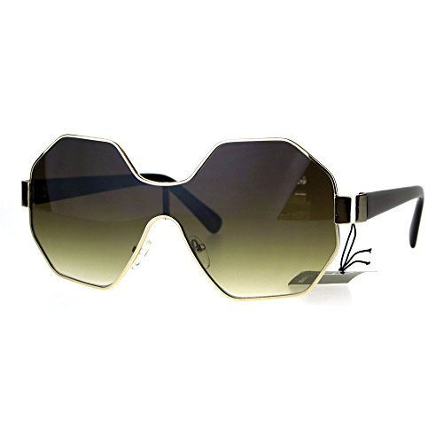 Womens Fashion Sunglasses Octagon Shape Designer Style Shades Brown, Brown - Octagon Shades