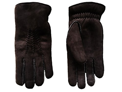 Men's Warmest Winter Gloves Sheepskin Suede Hand Sewn Black Brown Gray Camel By Hungant (9.6, Choco Brown) by Hungant