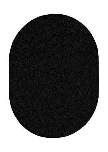 Bright House Solid Color Oval Shape Area Rugs Black - 5'x7' Oval