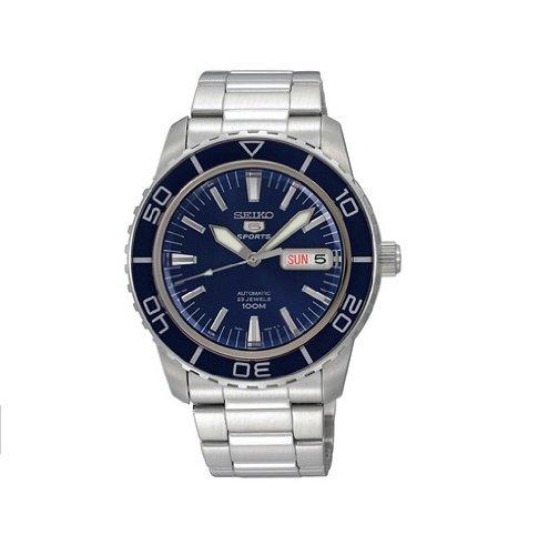 Seiko Men's SNZH53 Seiko 5 Automatic Dark Blue Dial Stainless Steel Watch by SEIKO