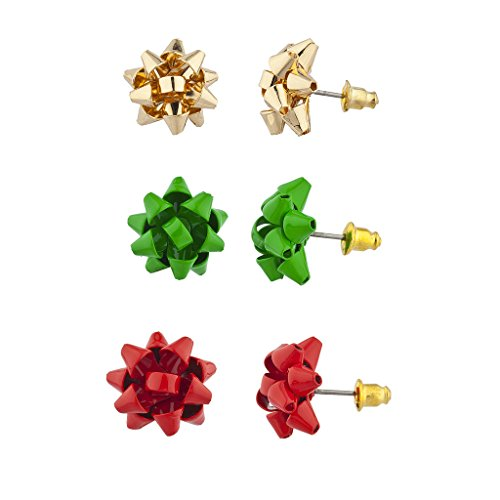 Jewelry Accessories Bow (Lux Accessories Red, Green and Gold Holiday Christmas Bow Multi Earring Set 3PC)