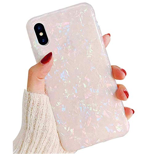 Compatible iPhone Xs/X Case for Girls Women, GYZCYQ Cute Phone Case Glitter Pretty Design Protective Shockproof Pearly-Lustre Shell Slim Soft TPU Cover Compatible for iPhone Xs/X Case ()