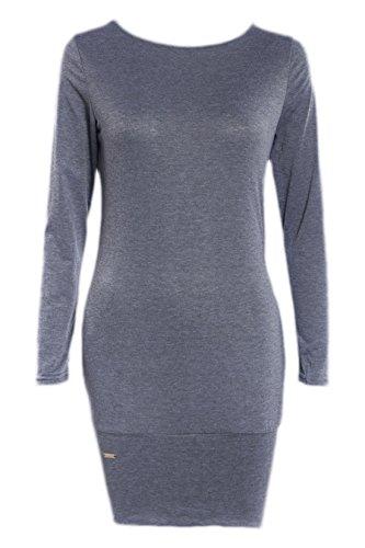 erdbeerloft - Damen Basic Minikleid, langarm, mit Taschen, Grau, Größe M