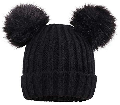 Jasmine Womens Winter Thick Cable Knit Fleece Lined Beanie Hat with Faux Fur Pompom Ears