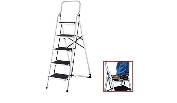 ZUMBEEL nuevo EXTRA ancha 5 MPS antideslizante escalera de plataforma plegable FOLDABL escalera con peldaños estructura de acero taburete escalera de mano con portátil ANTI-SLIP pie de goma alfombrilla HOME cocina taburete