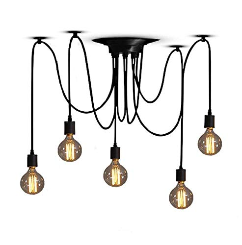 DIY Ceiling Light Spider Rustic Vintage Edison Industrial Adjustable Chandelier Pendant 6/8 Heads (5)
