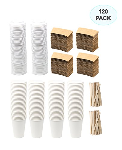 Lively Sloth - 120 Premium Coffee Cup Sets - Extra Large Set of 12 oz Disposable Coffee Cups With Lids, Wooden Stirrers and Sleeves. Perfect for Cafe, Tea, Cocoa or Cappuccino.