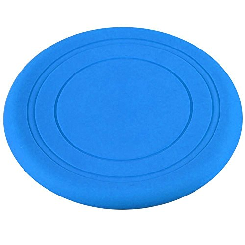 Dog Silicone Frisbee - Blue - Cute Pet Flying Disc, Tooth Resistant, Outdoor Training, Fetch Toy
