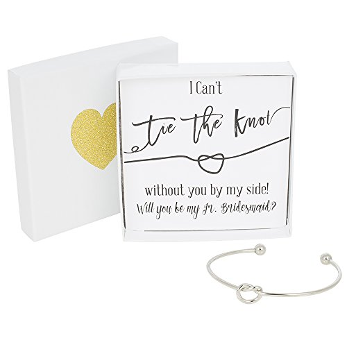 Bridesmaid Gifts - Tie The Knot Jr. Bridesmaid Bracelet w/ Gift Box, Wedding Thank You Gift, Love Knot Jewelry, Bridal Party Gift Sets (Gold, Rose Gold, Silver) (Black Note_Silver Bracelet)