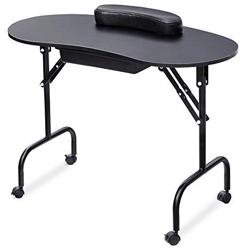 Yaheetech Portable & Foldable Black Manicure Nail Table Station Desk Spa Beauty Salon Equipment W/Bag