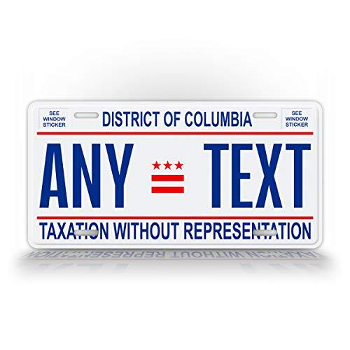SignsAndTagsOnline Custom Washington DC License Plate District of Columbia Replica Personalized Text Novelty Auto Tag District Of Columbia License Plate
