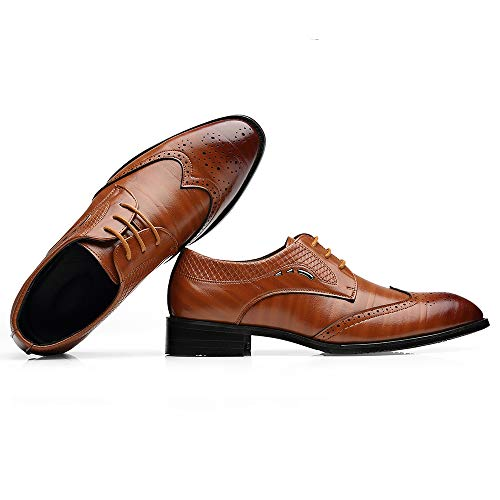 De Con Clásica Informales Cuero Marrón Formales Brogue Hombre Borla Calzados Mocasines Zapatos Tw4qO