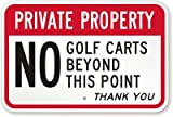 Private Property: No Golf Carts Beyond This Point. Thank You Sign, 18″ x 12″ For Sale