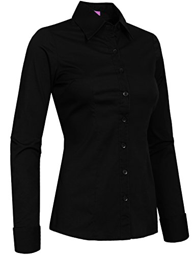 J. LOVNY Womens Fitted Tailored Long Sleeve Button Down Shirt-BLACK-S