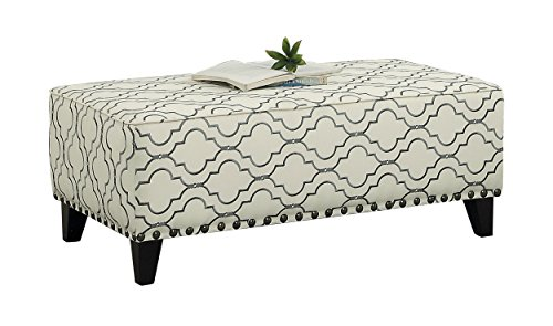 Homelegance Set Coffee Table - Homelegance Temptation Accent Coffee Table Ottoman with Surrounding Nail head Trim, Quatrefoil Off White