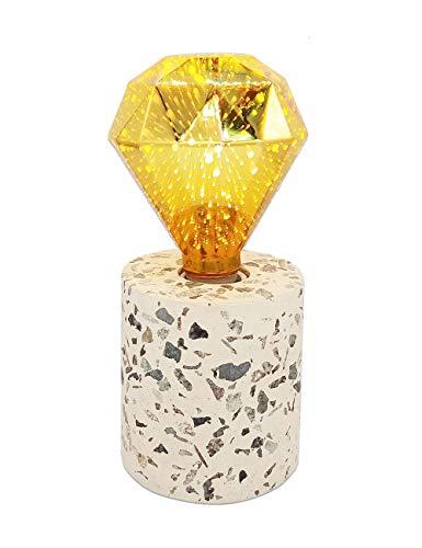 Modernluci Table lamp, Terrazzo Lamp Base with LED Star Light Bulb Included, Night Light Modern Room Lighting Bedside Bedroom Contemporary Living Room Lights, E26 Medium Base Desk Lamps White ()