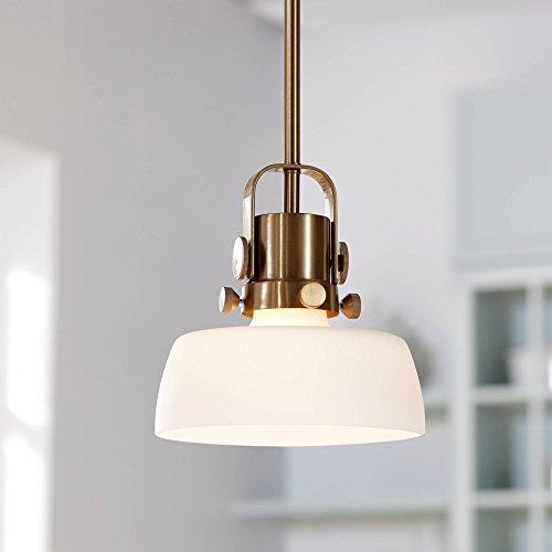 """Possini Euro Mackay 8"""" Wide Antique Brass Mini Pendant - Possini Euro Design"""