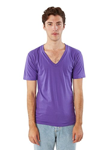 Unisex Fine Jersey - American Apparel Unisex Fine Jersey Short Sleeve V-Neck, Purple, X-Large