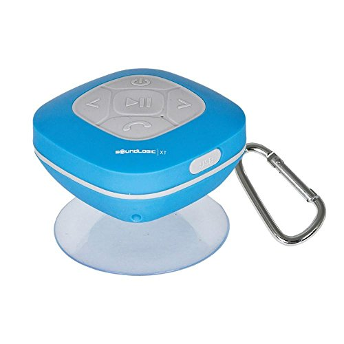 SoundLogic AWS-12/2970L Bluetooth Shower Speaker with FM Radio and Carabiner (Blue)