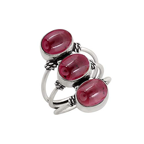 (925 Silver Plated 9.80ct, Genuine Garnet Cab 8x10mm Oval Handmade Fashion Ring (Size11))