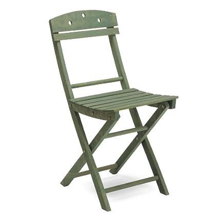Silla plegable de madera, color verde juego de 4 sillas-Ale ...