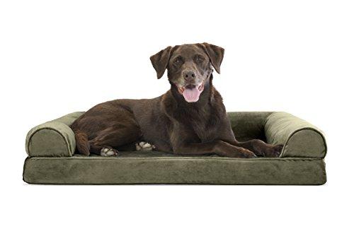 FurHaven Ultra Plush/Velvet Orthopedic Dog Couch Sofa Bed for Dogs and Cats, Velvet Dark Sage, Large