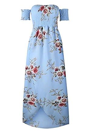 JJ-zxc Boho Style Long Dress Women Off Shoulder Beach Summer Dresses Chiffon White Maxi