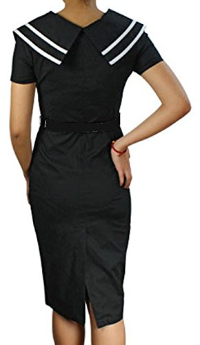 (XS-XXL) Nancy - Black or Blue 40s 50s Sailor Navy Nautical Retro Pencil Dress at Amazon Womens Clothing store:
