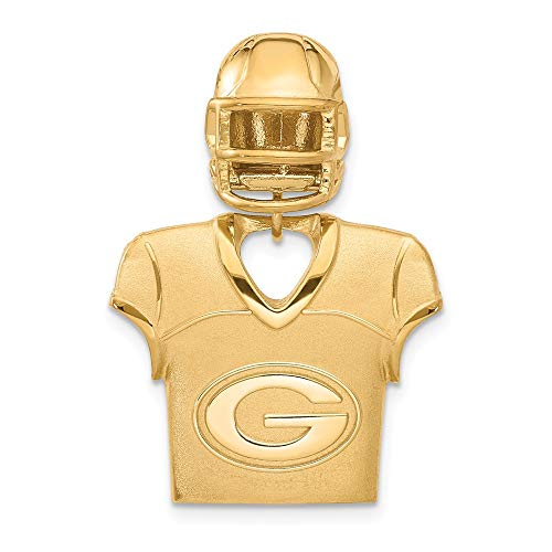 (FB Jewels Sterling Silver Gold Plated Green Bay Packers Jersey & Helmet Pendant )