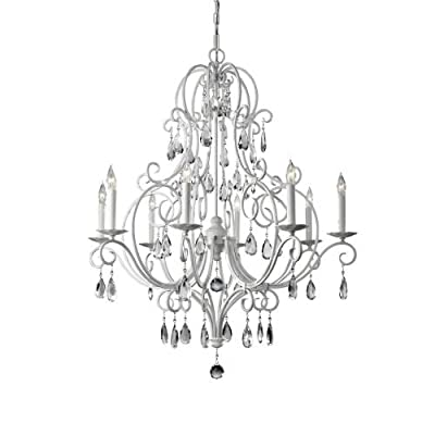 Feiss F2303/8SGW, Chateau Blanc Crystal Chandelier Light, 8LT, 480 Watts, Semi Gloss White