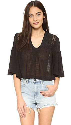 Free People Womens Carry Me Away Gauze Crochet Back Peasant Top Black S by Free People