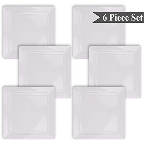 Square White Melamine Dinner Plates Set of 6 Indoor Outdoor by bogo Brands (Unbreakable Plates Ceramic)