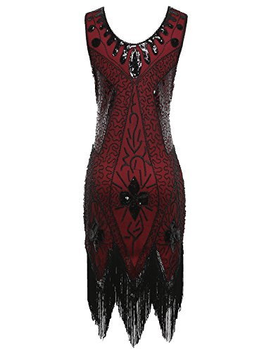 Women's Flapper Deco Sequin Dresses Art Great Burgundy 1920s Cocktail Gatsby Dress Sa6OwxSq