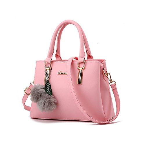 Tisdaini Women's Handbag Fashion Monochrome Simple Shoulder Messenger Bag Pink