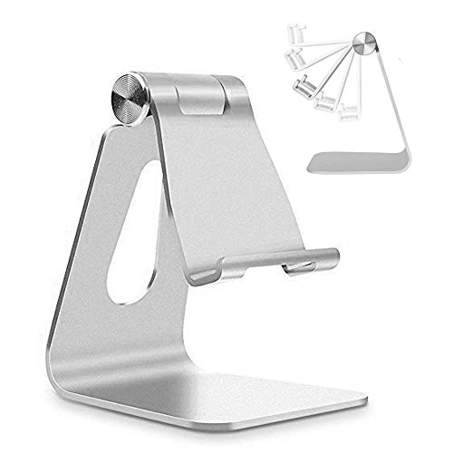 Adjustable Cell Phone Stand, CreaDream Phone Stand, Cradle, Dock, Holder, Aluminum Desktop Stand Compatible with iPhone Xs Max Xr 8 7 6 6s Plus 5s Charging, Accessories Desk,All Smart Phone-Silver from CreaDream