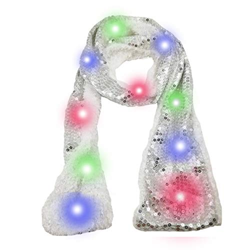 Luwint Colorful LED Flashing Sequin Scarf - Lights Up Rave Clothing Accessories Toys for Halloween Party Costume -
