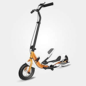 TARCLE Pedal Scooter, 10 Inch Air Wheel Fold Scooter, Pedaling Stepper Scooter, Fitness Scooter (orange)