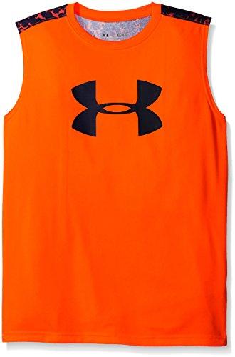Under Armour Boys' Tech Big Logo Novelty Sleeveless T-Shirt, Traffic Cone Orange /Navy Seal, Youth X-Small (Tech Shirt Sleeveless)