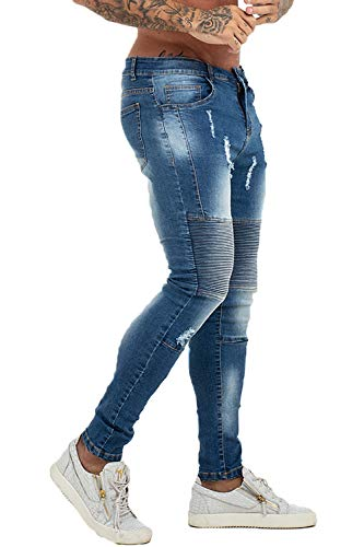 GINGTTO Ripped Skinny Biker Jeans for Men Slim Fit Moto Jeans Pants Blue 36