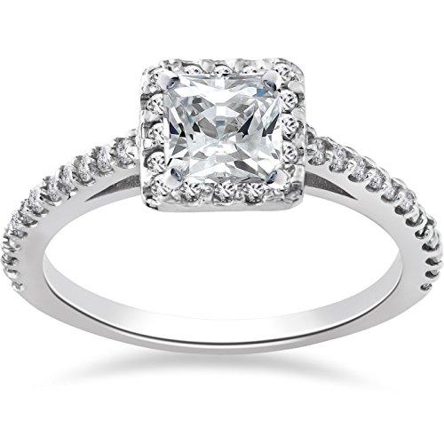1ct Princess Cut Pave Halo Diamond Engagement Ring 14K White Gold