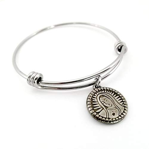Virgin Mary Religious Medal Bangle Bracelet