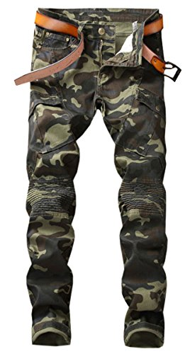 QZH.DUAO Men's Camo Cargo Moto Biker Denim Jeans Pants with Pocket, Camouflage, US 32 = Tag 33