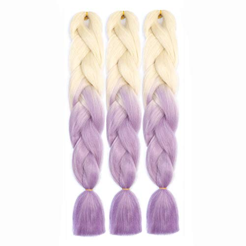 SONNET Jumbo Braids Hair 3bundles/lot 300g Synthetic Kanekalon Braiding Hair Extension for Box Twist Braiding with 10pcs Free Decoration Dreadlock Deads (Milky/Light-Purple)