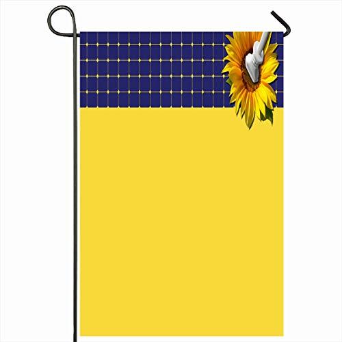Ahawoso Seasonal Garden Flag 12x18 Inches Innovative Green Alternative Blue Solar Panel Sunflower Plug Eco Against Technology Yellow Cell Clean Home Decorative Outdoor Double Sided House Yard Sign