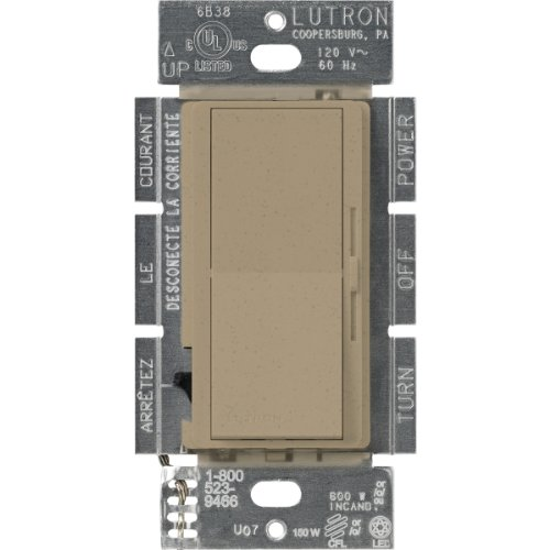 Lutron Diva C.L Dimmer for Dimmable LED, Halogen and Incandescent Bulbs, Single-Pole or 3-Way, DVSCCL-153P-MS, Mocha Stone