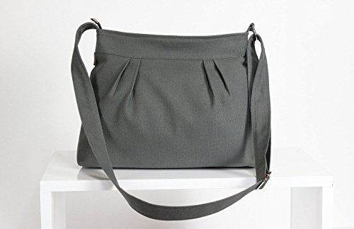 Gray Bag Canvas Purse Pleated Bag For Women Gift Daily Use Shoulder Bag Evening Bag Washable Handbag Bags Diaper Bag Eco-Friendly Fabric hippirhino Different Colors are Available - Pleated Handbag Purse