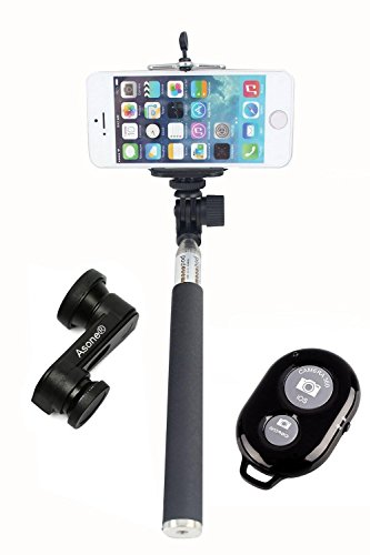 LIMYAAH-Selfie-Stick-Extendable-Handheld-Monopod-Pole-with-Adjustable-Phone-Holder-Black-Bluetooth-Shutter-Case-Star-Black-White-Octopus-Style-Portable-and-adjustable-Tripod-Stand-with-Mount-Holder-fo