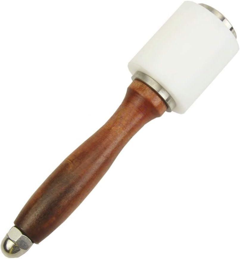 Martillo de cuero para tallar, bricolaje, mazo, tubo de costura de vaca, mango de madera de cabeza recta de nailon de 21 cm