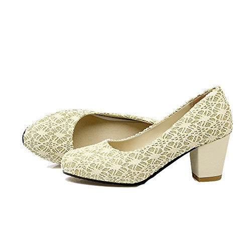 Amoonyfashion Mujer-round-toe Kitten-heels Lace Solid-bombas-zapatos Beige