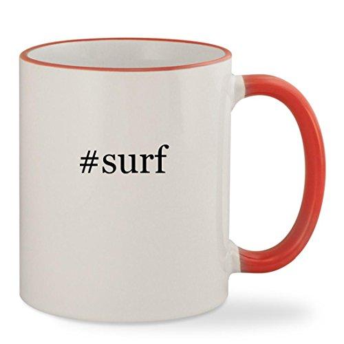 Surf   11Oz Hashtag Colored Rim   Handle Sturdy Ceramic Coffee Cup Mug  Red
